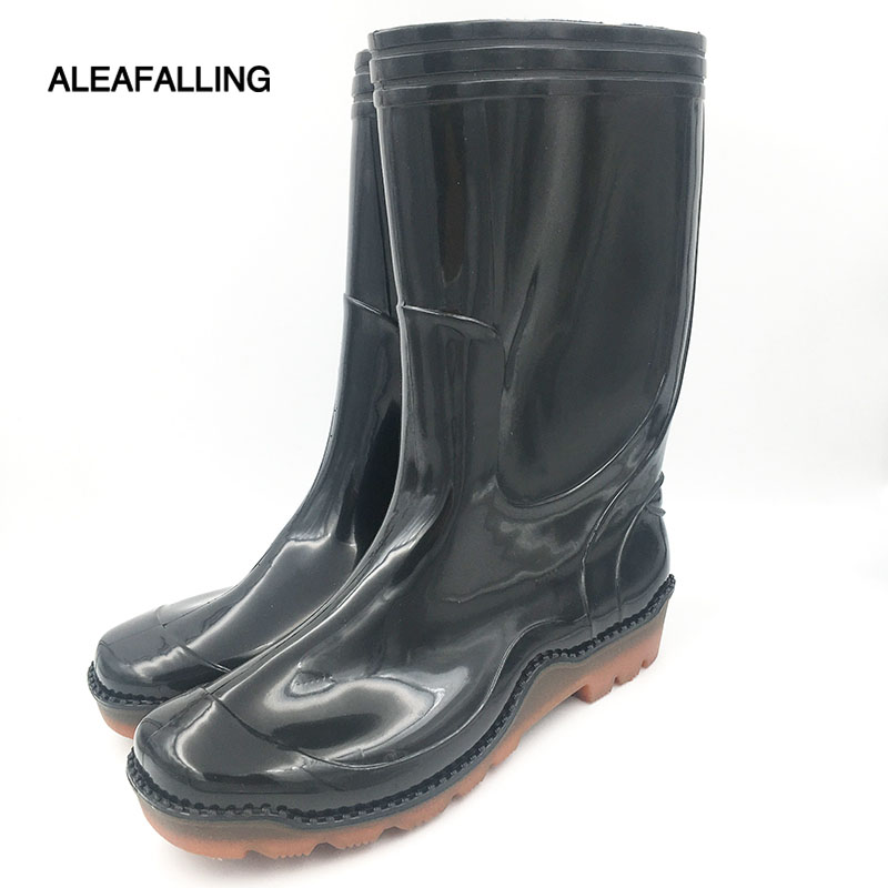 Aleafalling rubber waterproof rain boots waterproof flat with shoes men unisex water rubber mid-calf boots slip on botas m042 rubber boots hatleyhref page 5