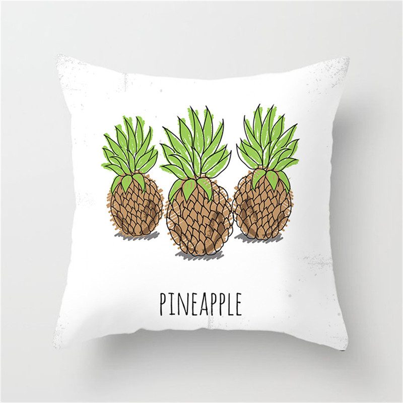 Fuwatacchi Painting Cactus Printed Cushion Cover Flamingo Pineapple Flower Solid Pillow Case for Home Decorative Car Sofa Chair in Cushion Cover from Home Garden