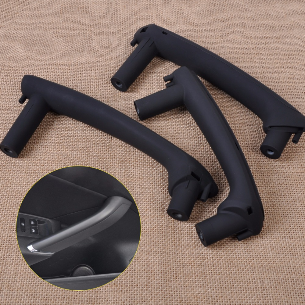 DWCX New 3pcs Black Interior Door Pull Grab Handle With Trim Cover 3B4867372 3B0 867 180