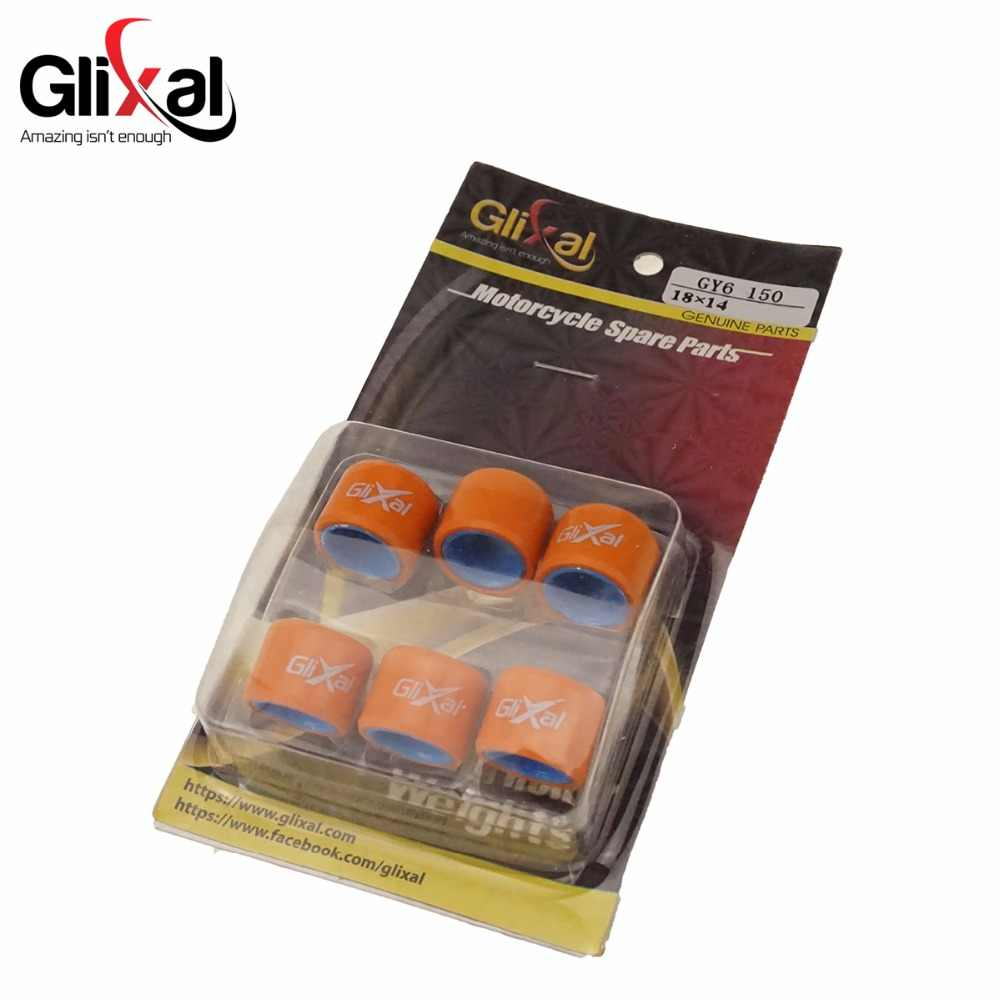 Glixal 18X14 Mm High Performance Racing Variator Roller Beban Set 152QMI 157QMJ GY6 125cc 150cc Skuter Moped ATV (8G-16G)