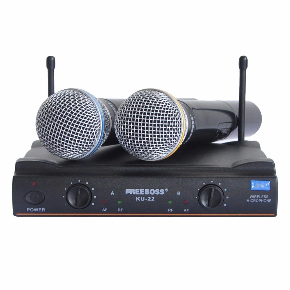 Freeboss KU-22 UHF Long Range Dual Channel 2 Handheld Mic Transmitter Professional Karaoke UHF Wireless Microphone System freeboss ku 22h2 uhf wireless microphone system dj karaoke 2 lapel 2 headset microphone 2 bodypack transmitter