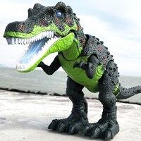 Brinquedo elétrico grande tamanho andando dinossauro com luz de som tyrannosaurus rex crianças brinquedos 1 pçs brinquedo elétrico