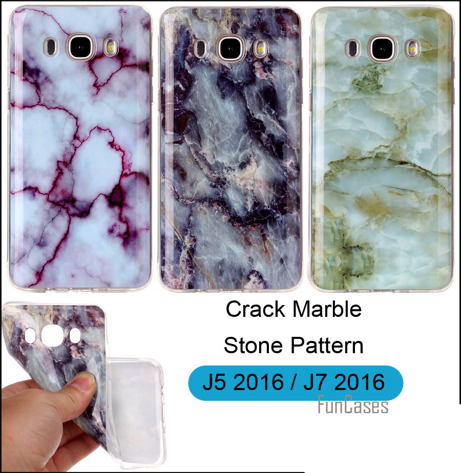 Crack Marble Case Cover For Samsung Galaxy J5 J7 2016 J510FN J710FN Stone Pattern Soft TPU Protector