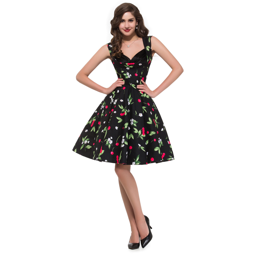 Beaut Shadow Store 2017 Retro Vintage 50s Floral clothing 1950s Swing plus size Robe Rockabilly Cotton  Womens Print Party Dresses Summer Style