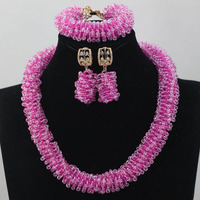 Perfect Pink Jewelry Set for Brides African Beads Jewelry Set Lady Anniversary Party Jewelry Set Gift Free Shipping WD246