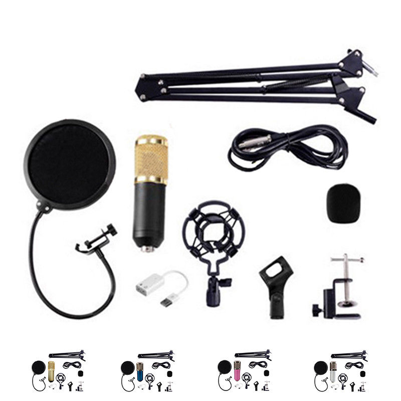 SCLS BM800 Condenser Microphone Kit Studio Suspension Boom Scissor Arm Sound Card Black bm800 condenser microphone kit studio suspension boom scissor arm sound card 3 5mm wired vocal recording ktv karaoke microphone