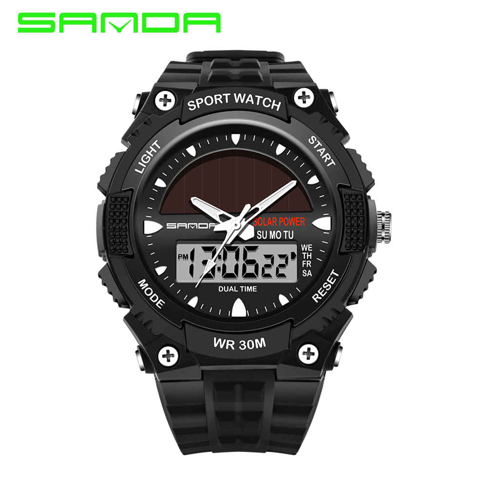 SANDA Watches Men Waterproof Solar Power Sports Casual Watch Man Men's Wristwatches 2 Time Zone Digital Quartz LED Clock Men weide new men quartz casual watch army military sports watch waterproof back light men watches alarm clock multiple time zone