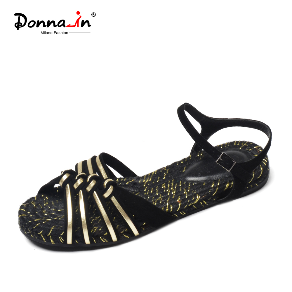 Donna-in Brand 2018 Rope Women Summer Flat Sandals Strap Black Gold Genuine Leather Open Toe Fashion Comfortable Female Shoes gktinoo 2018 summer gladiator sandals women genuine leather flat fashion women shoes open toe casual comfortable female sandals