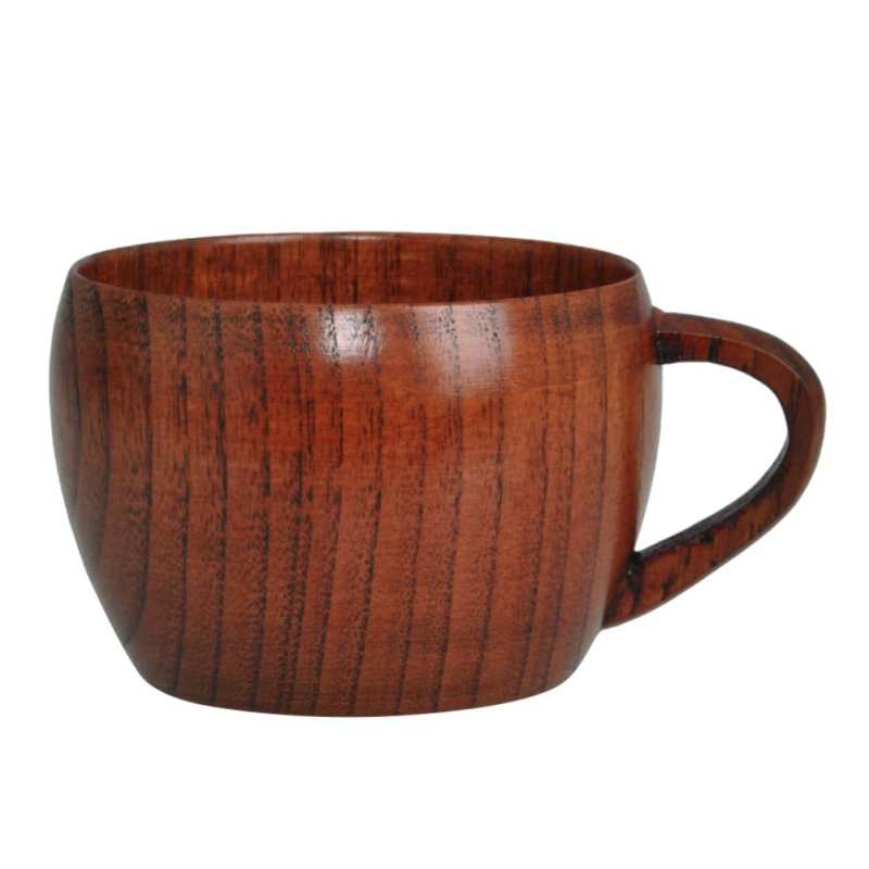 Natural Solid Wooden Mug Cup with Handle Portable Friendly Lightweight Coffee Mug For Kitchen Picnic Outdoor Travel Camping in Mugs from Home Garden