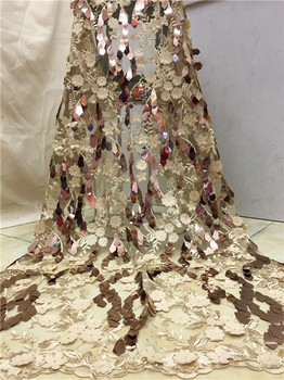 Latest Nigerian 3D Lace Fabrics 2019 High Quality African Laces Fabric Bridal Gold Embroidered French Tulle Lace Fabric