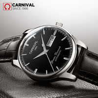 CARNIVAL Men's Self-Wind Luxury Mechanical Watches Water Resistant Automatic Classic Leather Wrist Watche Men Reloj Hombre