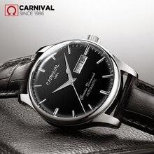 Karnawał męskie self wiatr luksusowe zegarki mechaniczne wodoodporny automatyczny klasyczny skórzany zegarek na rękę mężczyźni Reloj Hombre