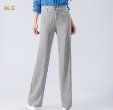 Cotton linen pants women plus size beige gray black wide leg pants casual new fashion OL spring autumn high waist pants yll0601