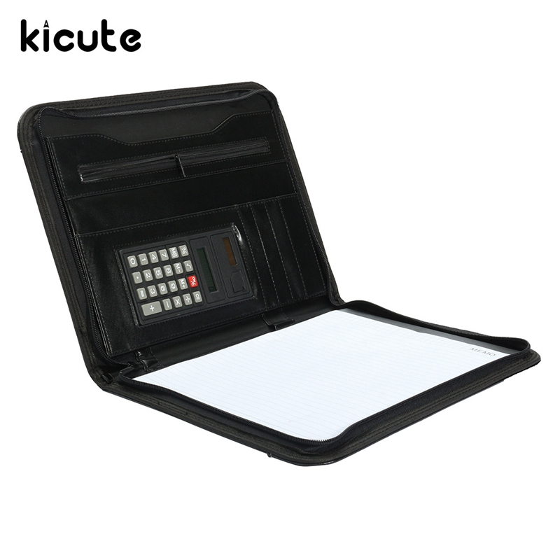 Kicute A4 Conference Folder Zipped Leather Portfolio Organizer With Calculator Document Bag Manager File Folder Business Supply