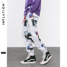INFLATION Harem Pants Graphic Print Pencil Pants Elastic Waist Track Pants Trousers
