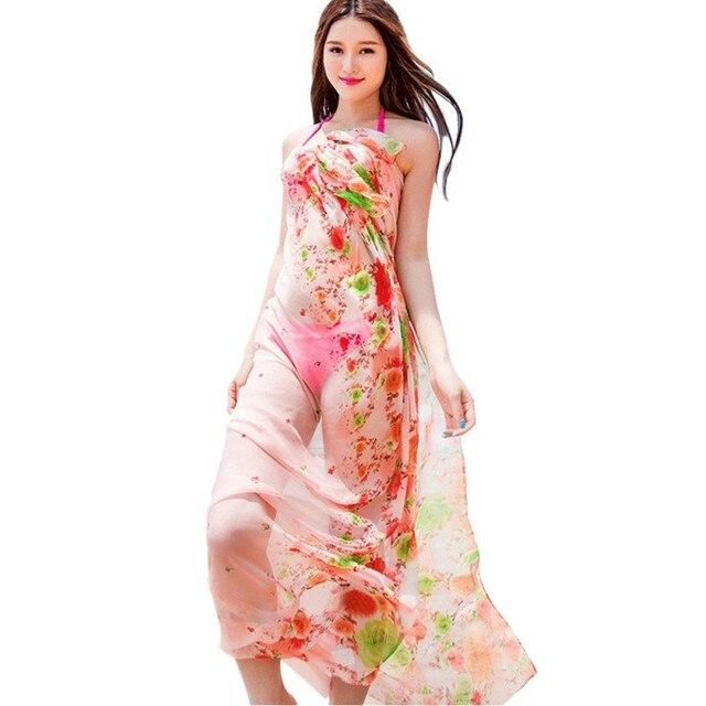 24e8c738b9c Women Sexy Summer Swimsuit Cover Ups Bikini Scarf Beach Pareo Scarves  Pretty Floral Print Chiffon Sarongs