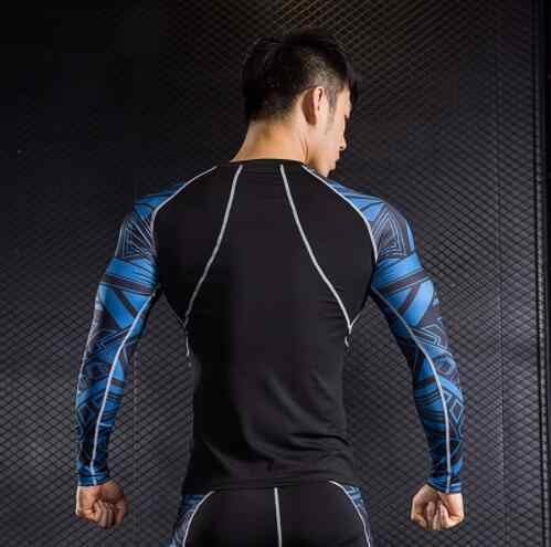 Crossfit футболка + леггинсы 2 шт. спортивный костюм термобелье волчонок головы 3D рубашки с принтом ММА сжатия Костюмы бренд