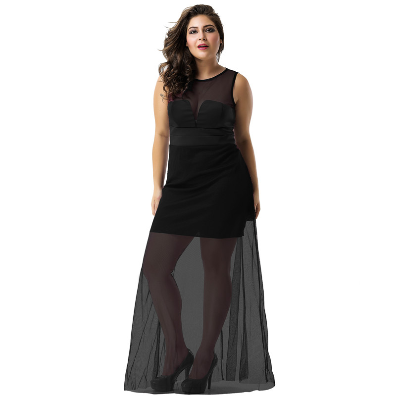 US $9.12 27% OFF|R70235 Long Gauze Sheer Overlay Dress High Waist Black  Purple Plus Size Casual Fashion 3XL Summer Dress Women Party Short Dress-in  ...