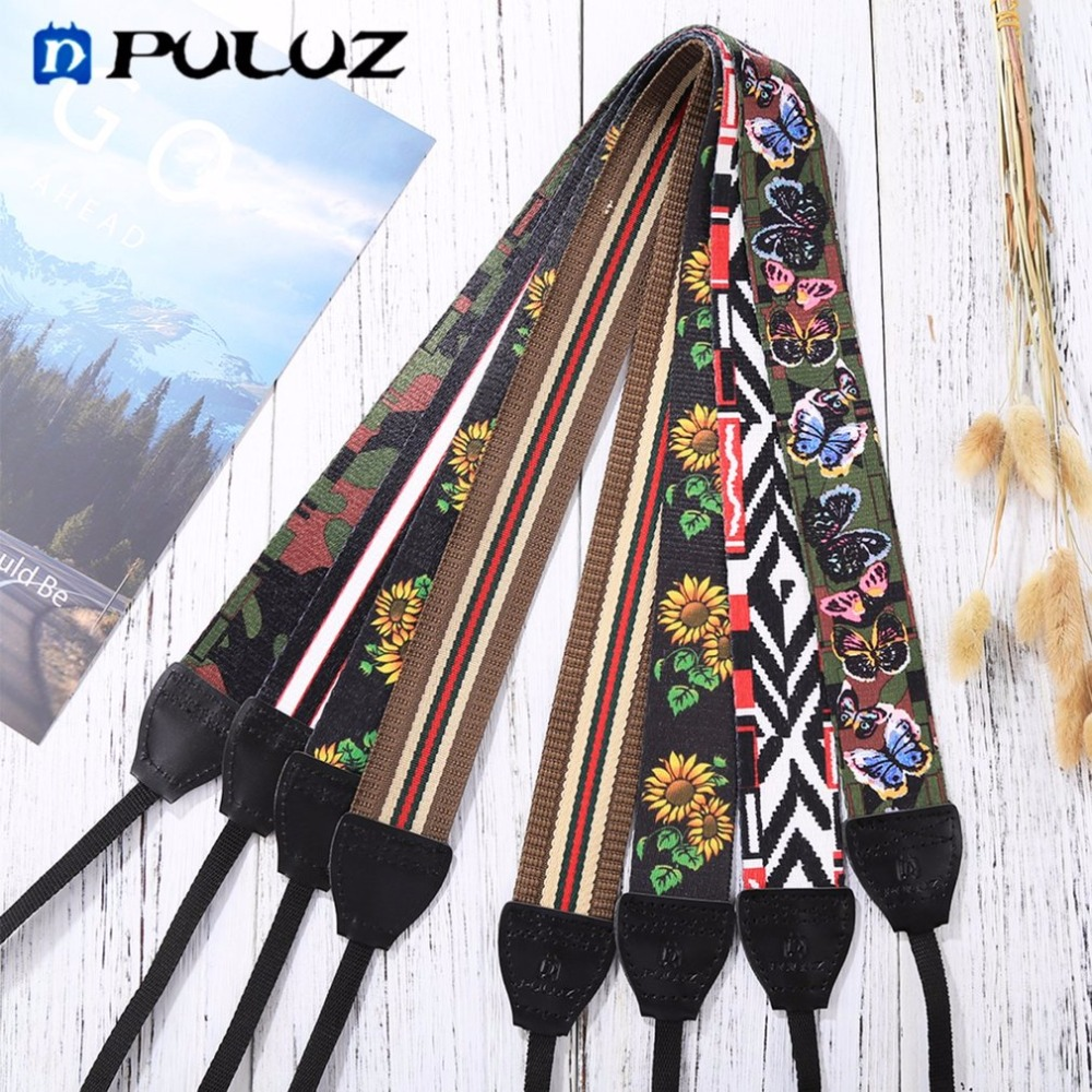 PULUZ Vintage Ethnic Style Floral Printed Anti-Slip Camera Neck Shoulder Camera Strap Belt for SLR/DSLR Cameras Drop Shipping