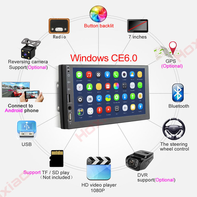 2 Din Car radio 7″ HD Player 2Din Touch Screen Car Video Multimedia Players Audio Stereo Mirror Link for carplay Android phone