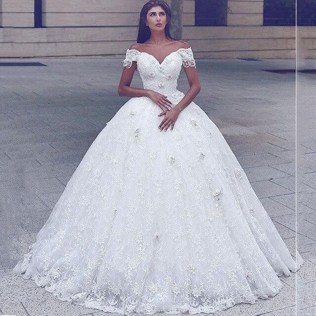 f2f484924f Glamorous Robe De Maree Off the Shoulder Sweetheart Short Sleeve Beaded  Lace Princess Wedding Dresses