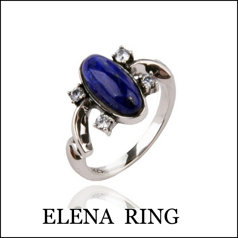 The Vampire Diaries Ring Gilbert Elena Ring 925 Sterling Silver Women Fashion Jewelry Blue Lapis Lazuli Ring for Birthday Gift the vampire diaries vampire knight crown ring jewelry gift men s ring gift jewelry 925 sterling silver ring