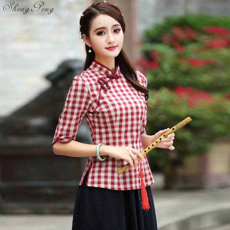 Top chinois traditionnel à manches courtes Floral cheongsam top Qipao chemise Blouse chinoise pour femme Q188