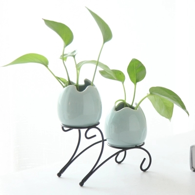 Multiple designs creative simple hydroponic ceramic vase glass vase iron frame vase green water desktop