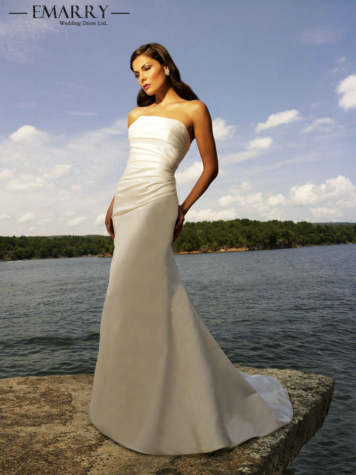 4d4d120f1c31 SZ324 Vintage White Satin Long Wholesale Price Strapless Mermaid Simple  Beach Wedding Dress 2017 Sexy Off the Shoulder Gown-in Wedding Dresses from  Weddings ...