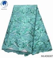 BEAUTIFICAL французский шнурки из органзы ткани 2019 зеленый блестящий кружевной ткани с блестками шнурки из органзы платье с бисером 5 ярдов ML4O83