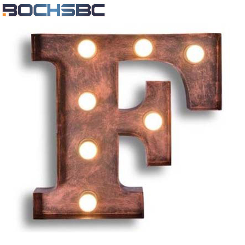 BOCHSBC Vintage Art Deco Wall Lights Letters F Wall Lamp Project Brand Logo F New Design LED Lamp Iron Wall Sconce Luz de pared