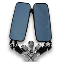 Universal Chrome Motorcycle Rear View Side Mirror Black Fire Frame 8mm 10mm