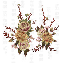 Gold Thread Embroidery Peony Flower Sew On Patch Dress Hat Bag Jeans Applique Crafts Clothing Accessories