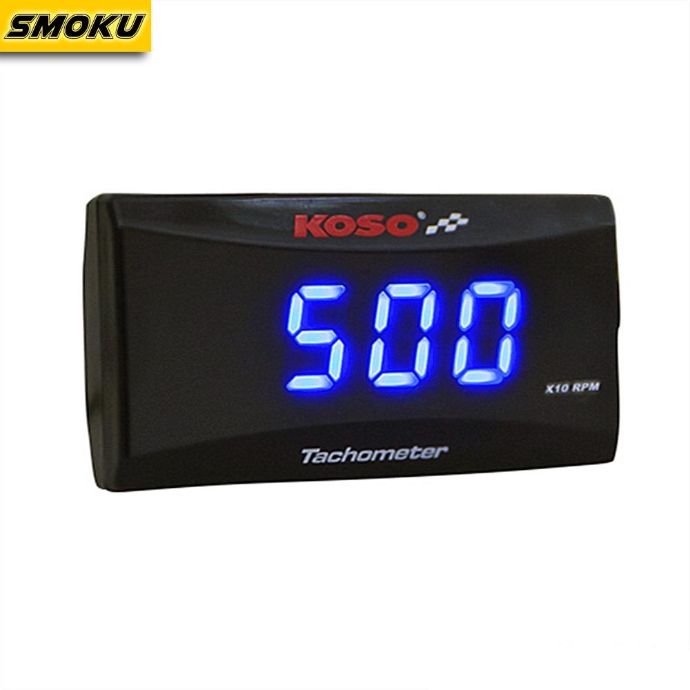 Koso Mini RPM Meter Digital Square LCD Display Engine Tach Hour Meter Tachometer Gauge for Racing Motorcycle BMW YAMAHA KAWASAKI