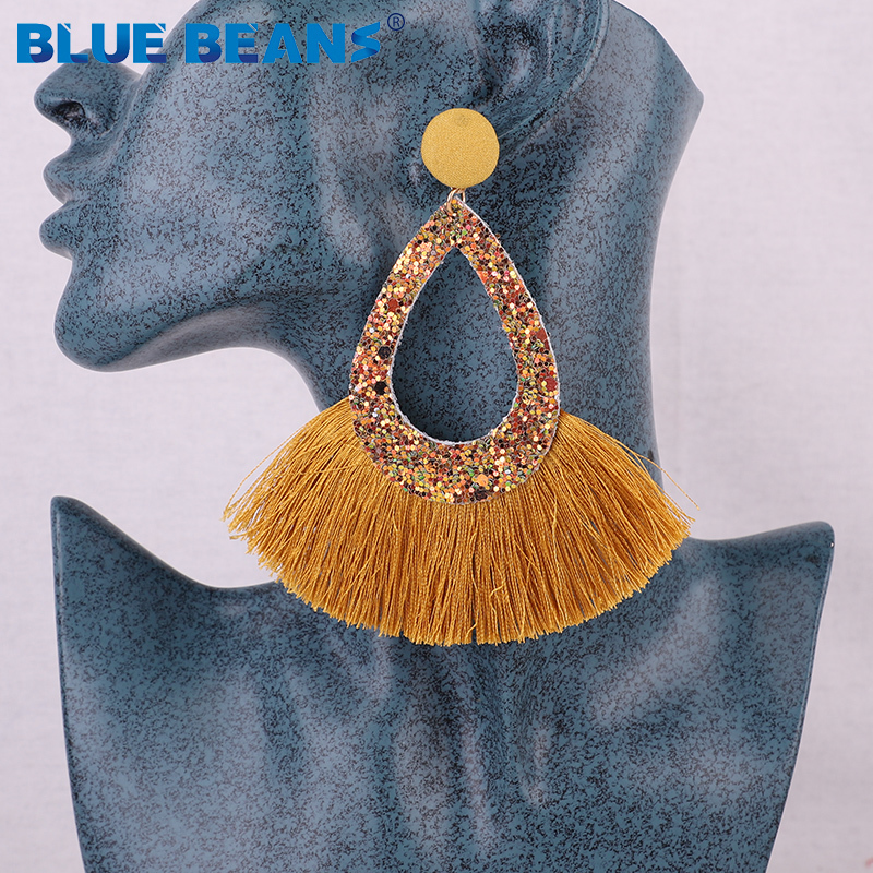 Tassel Earrings Shining Fashion For Women Boho Water Drop Earring Handmade Big Drop Dangle Round Jewelry Party gift statement 4