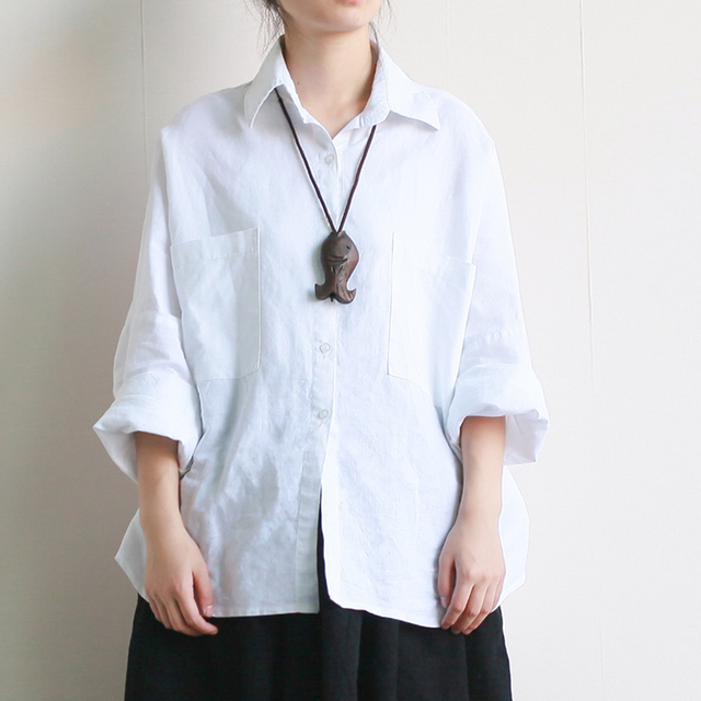 Plus size Camisa Branca de Linho Sólidos Mulheres Soltas Casual Verão Blusa Branca Camisa Preta Da Forma Do Vintage Encabeça Chemise femme A110