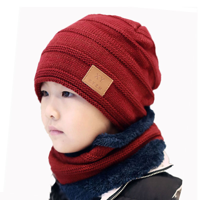 Child Winter Hat Scarf Set For Kids Girl Boys Ring Scarves And Knit Beanies Icon Cap Soft Stretch Cable Skullies Warm 2 Pcs Suit