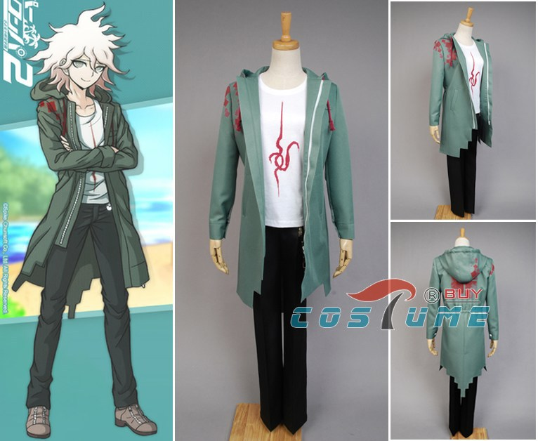 Anime Super Dangan Ronpa 2 <font><b>DanganRonpa</b></font> Nagito Komaeda Jacket Coat <font><b>Cosplay</b></font> Costume Halloween For Women Men image