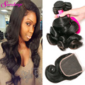 Brazilian Loose Wave With Closure Loose Wave Virgin Hair 3Bundles With Closure Brazilian LooseWave Weave Human Hair With Closure