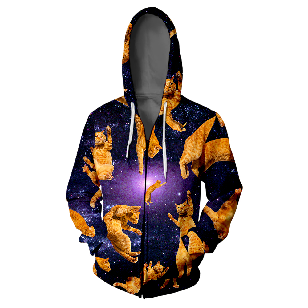 Cat Design 3D Zipper Hoodie