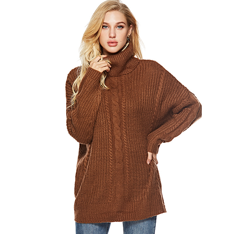 ab0e8418aeb Women s Mid Length Pullover Fashion Simple Turtleneck Knitted Sweater  Autumn Winter Thick Warm Solid Sweater Tops