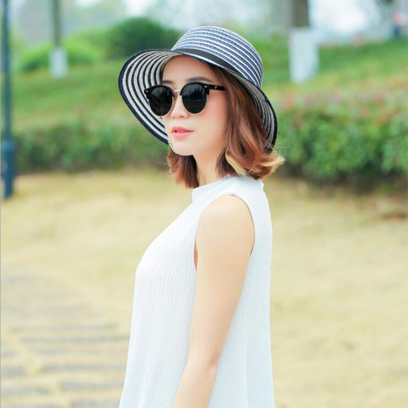 NEW  Hot Sale Fashion Hepburn Wind Black White Striped Bowknot Summer Sun Hat Beautiful Women Straw Beach Hat Brimmed Hat