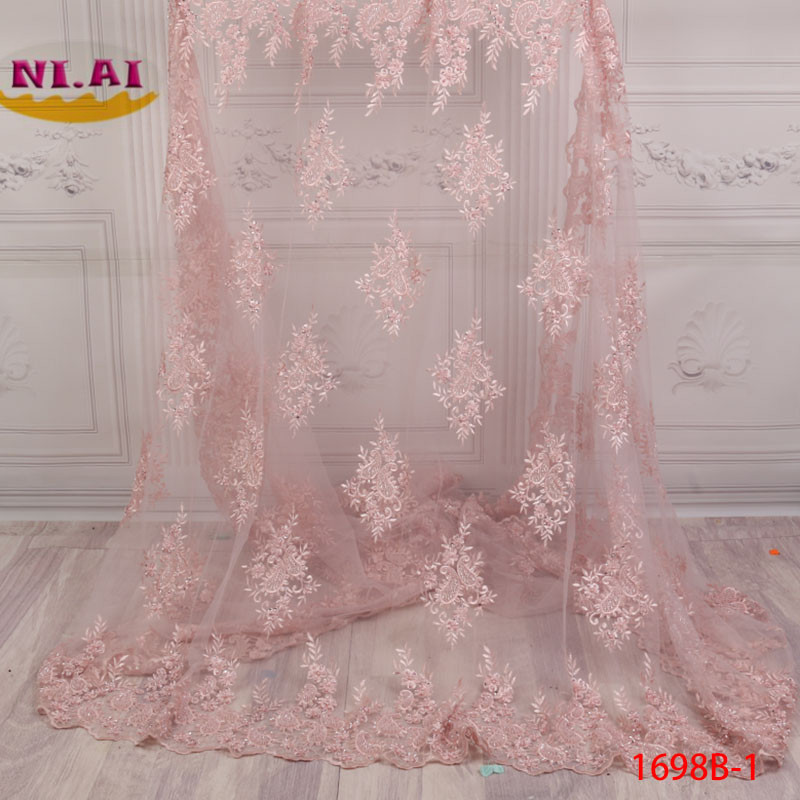3D Applique African Lace Fabric Beautiful Wine Embroidered Tulle Lace Fabric Handmade Beaded Heavy Lace Material