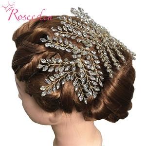 Image 2 - Moda gümüş renk düğün kafa bantları saç vine saç aksesuarları kristal saç süsler gelin prenses kız Hairbands RE3283