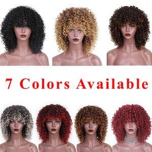 Image 3 - AISI ผมสังเคราะห์ผมสั้น Afro Kinky CURLY Wigs สำหรับผู้หญิงสีดำผมสูงเส้นใยผสมสีน้ำตาลและสีบลอนด์สี