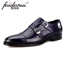 New Arrivla Genuine Leather Men's Double Monk Straps Round Toe Handmade Man Flats Luxury Designer Formal Dress Male Shoes BQL64 beautoday monk shoes women buckle straps genuine leather calfkin round toe lady flats handmade brogue style shoes 21408