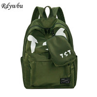 Rdywbu Letters Printing Nylon Backpack Purse Set New Students High Middle School Bag Big Light Weight