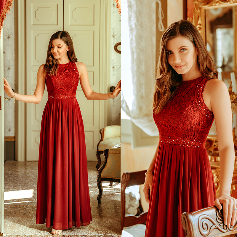 Prom Dresses 2020 Ever Pretty Elegant Beading Lace Long Banquet Party Gown Pleated Chiffon A-Line Robe De Soiree Lady Gala Dress