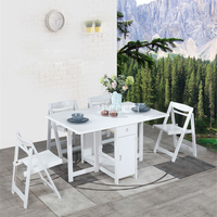 Household Solid Wood Table Chair Set Modern Minimalist Kitchen Telescopic Dinner Table Small Folding Dining Table With 4 Chairs