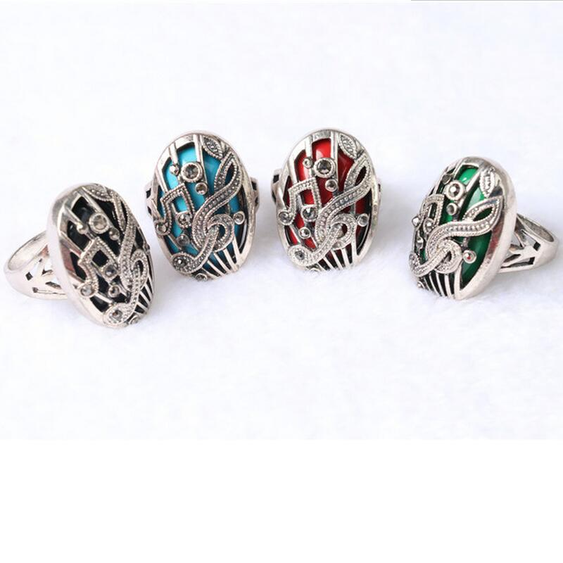 2017 Fashion Stainless Steel Rings Hollow Engraved Music Symbols Rings Double Inlaid Ret ...